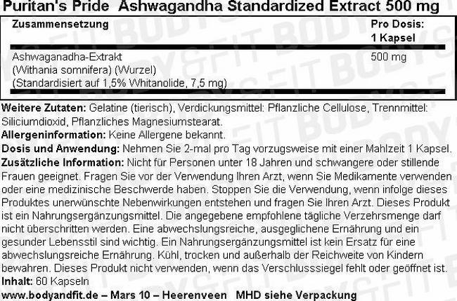 Ashwagandha Standardized Extract 500 mg Nutritional Information 1