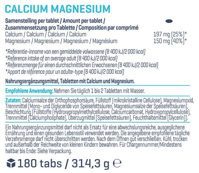 Calcium & Magnesium (180 Tabletten) Nutritional Information 1