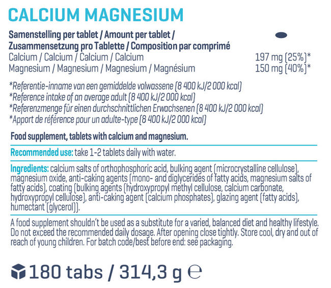 Calcium and Magnesium Tablets (180 tablets) Nutritional Information 1