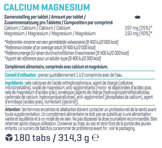 Calcium & Magnesium (180comprimés) Nutritional Information 1