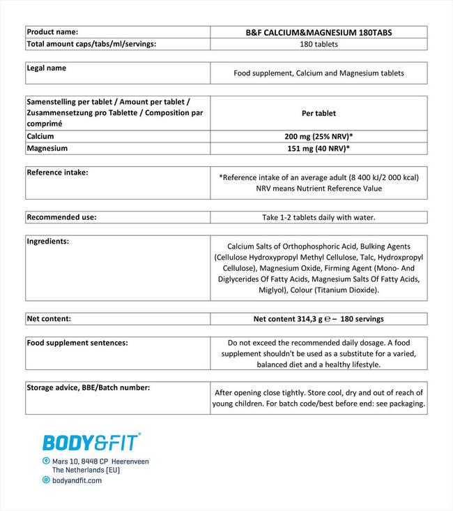 カルシウム&マグネシウム タブレット(180粒) Nutritional Information 1