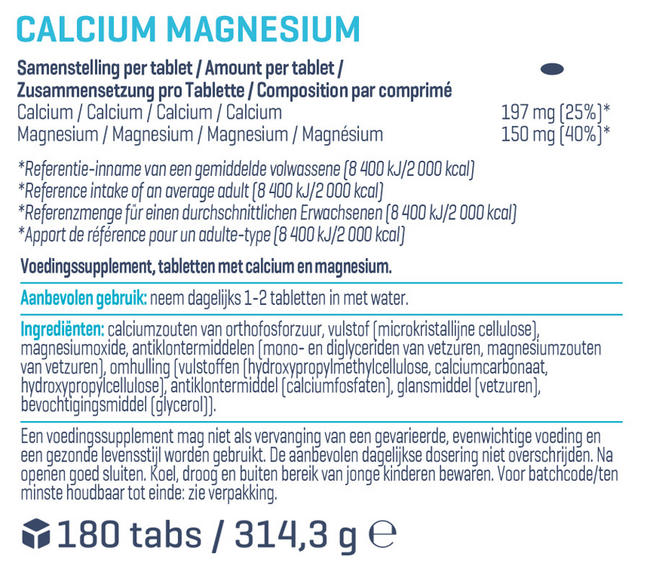 Calcium & Magnesium (180 tabletten) Nutritional Information 1