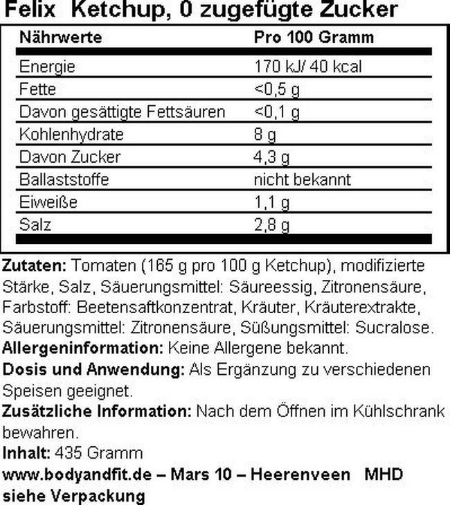 Ketchup, 0 zugefügte Zucker Nutritional Information 1