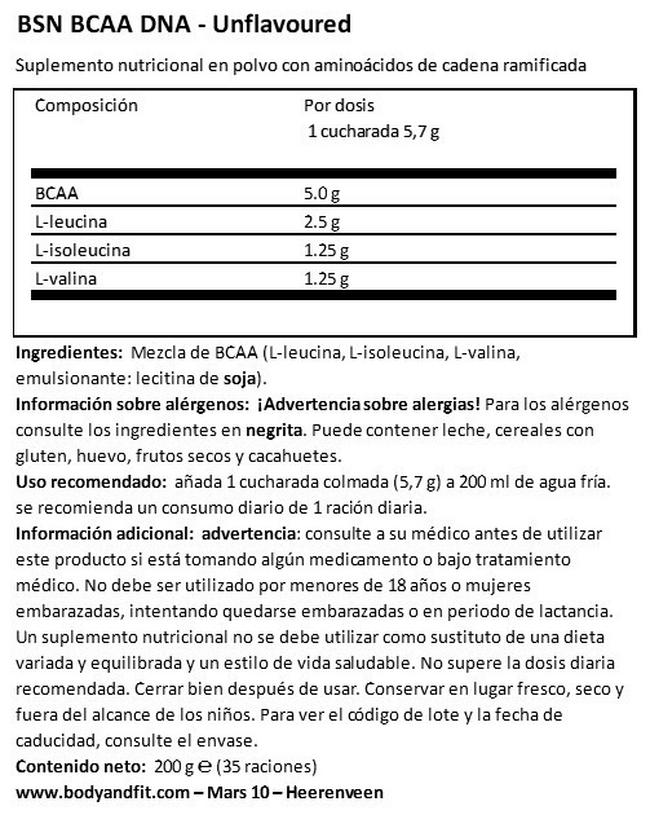 BCAA DNA Nutritional Information 1