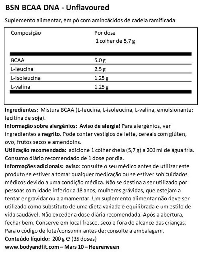 BCAA ADN Nutritional Information 1