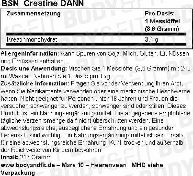 Creatine DNA Nutritional Information 1