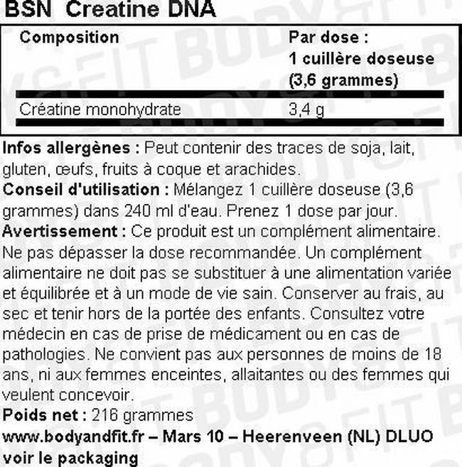 CréatineDNA Nutritional Information 1