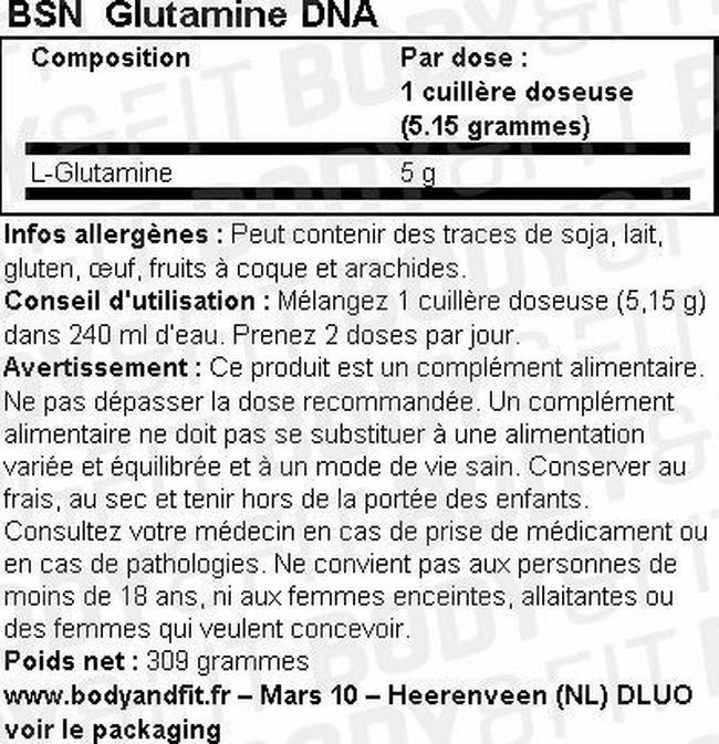Glutamine DNA Nutritional Information 1
