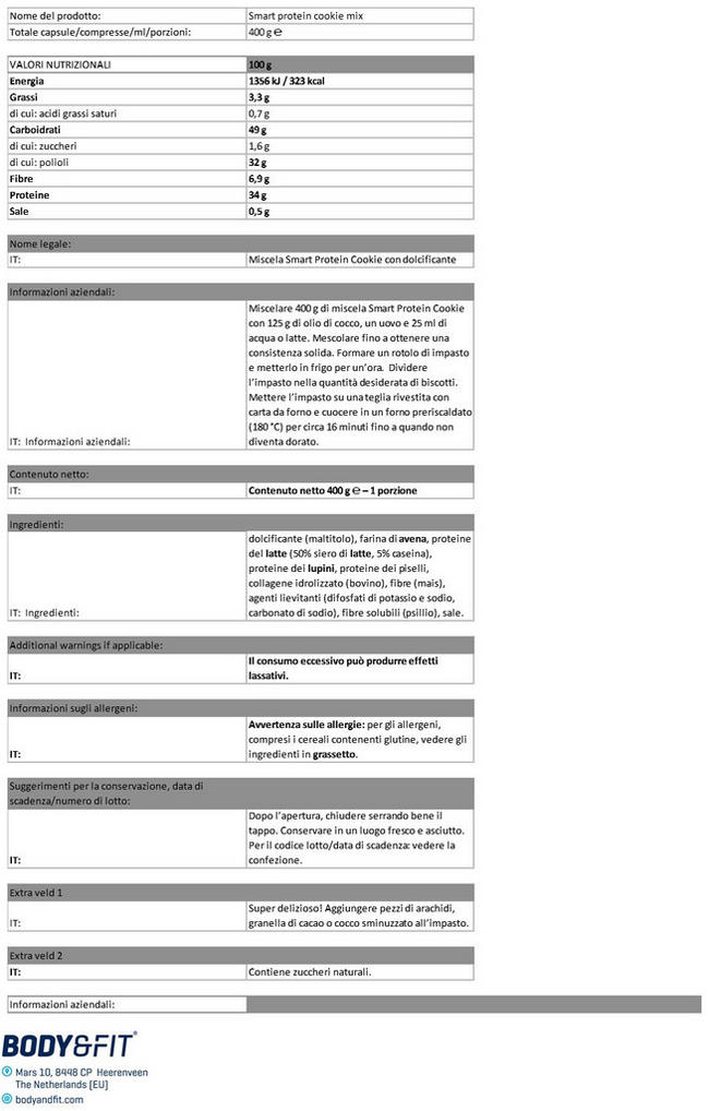 Mix per Biscotti Smart Protein Nutritional Information 1