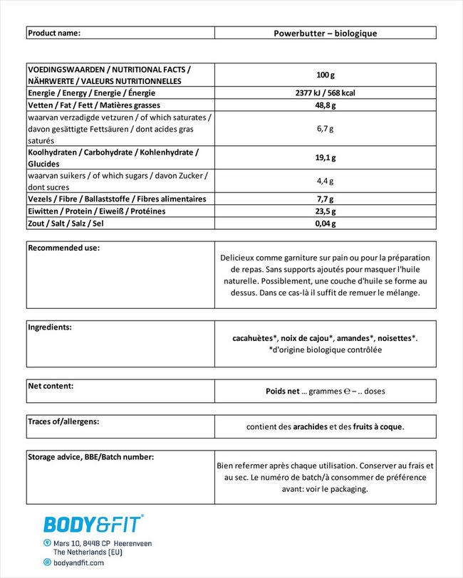 Powerbutter – biologique Nutritional Information 1