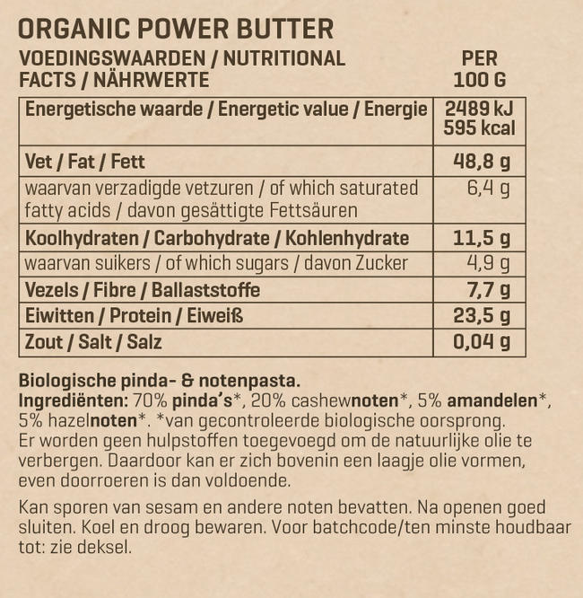 Powerbutter - biologisch Nutritional Information 1