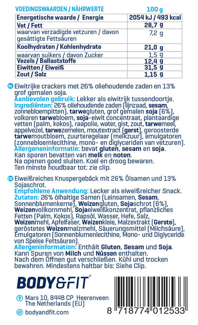 Reduced Carb Eiwit Crackers Nutritional Information 1