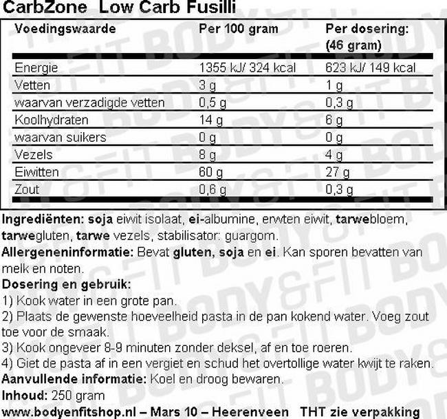 Low Carb Fusilli Nutritional Information 1