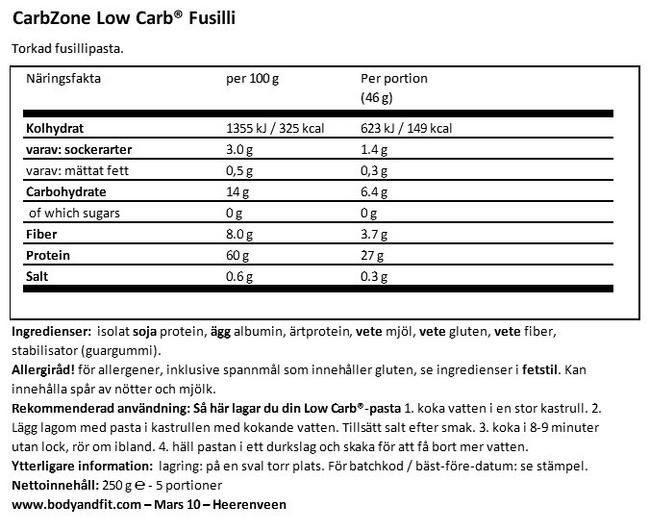 Low Carb Fussili Nutritional Information 1