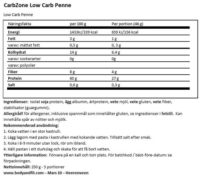 Low Carb Penne Nutritional Information 1