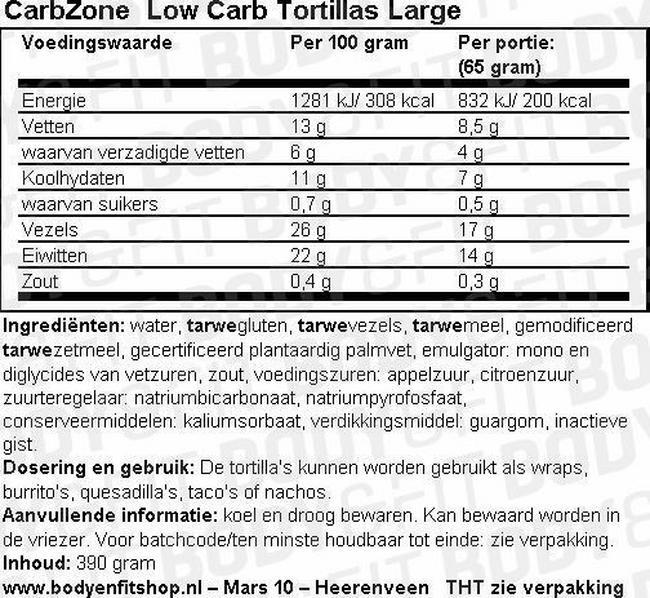 Low Carb Tortillas Large Nutritional Information 1