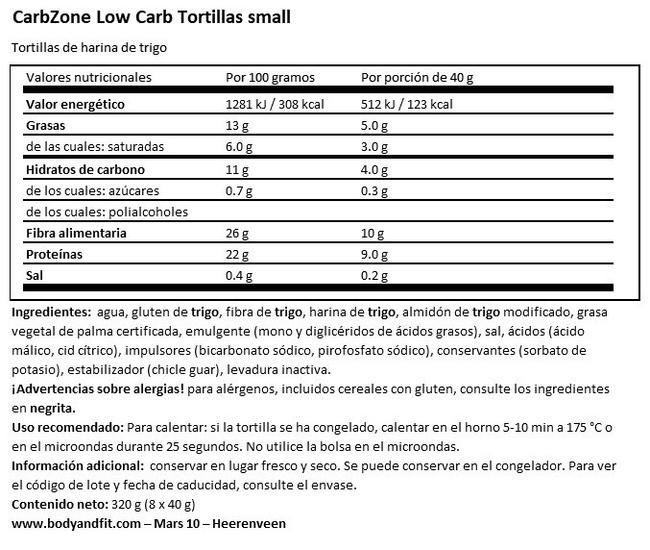 Low Carb Tortillas Small Nutritional Information 1