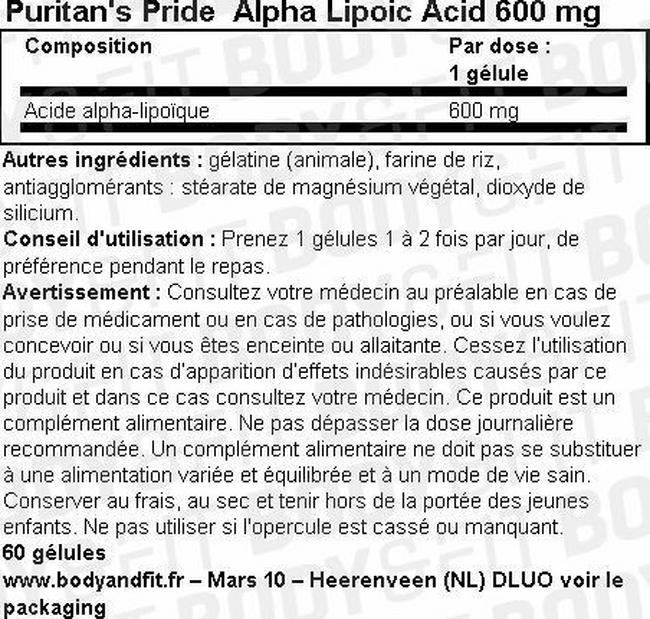 Alpha Lipoic Acid 600 mg Nutritional Information 1