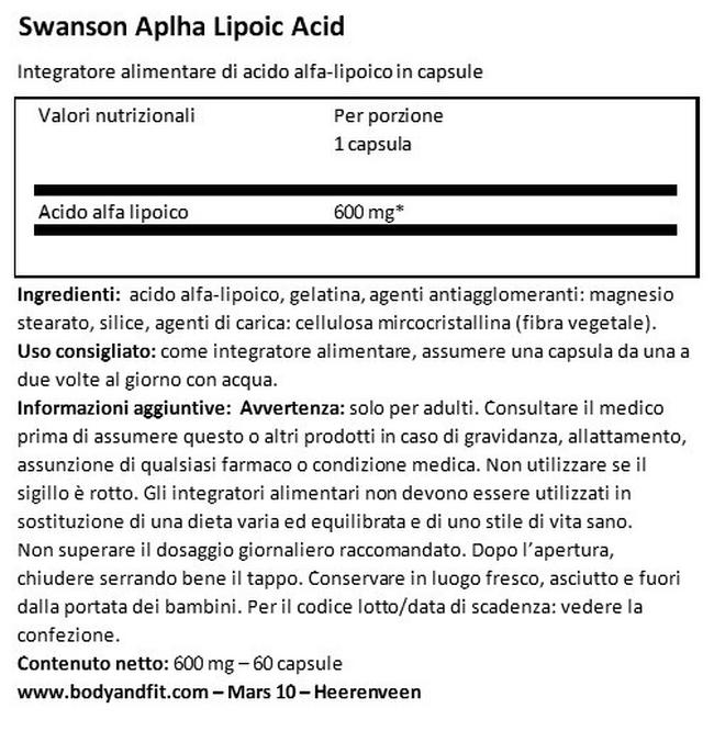 Acido Alfa Lipoico 600 mg Nutritional Information 1