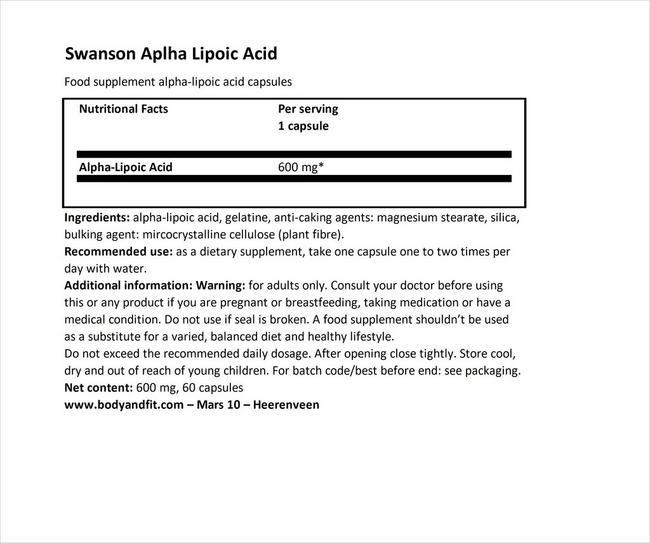 アルファリポイックアシッド 600mg Nutritional Information 1