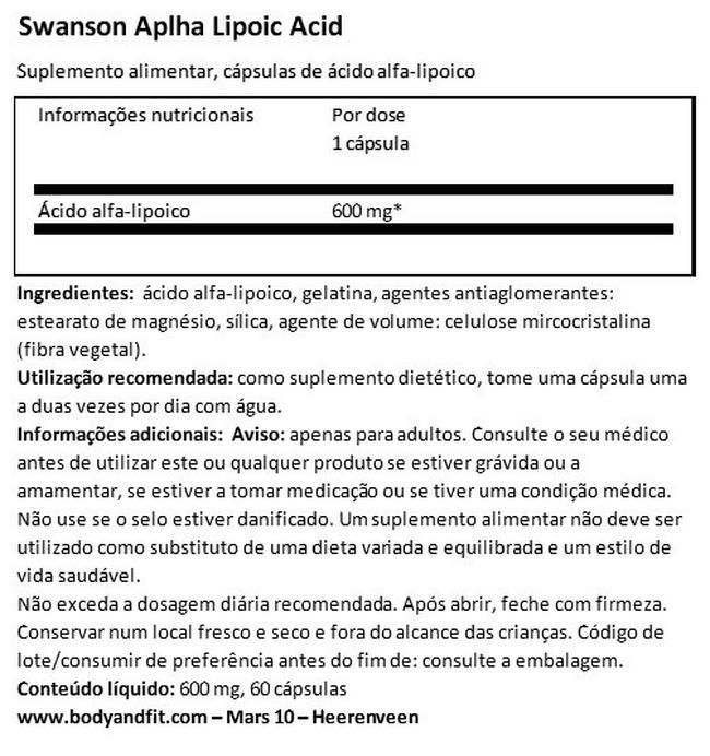 Alpha Lipoic Acid 600mg Nutritional Information 1