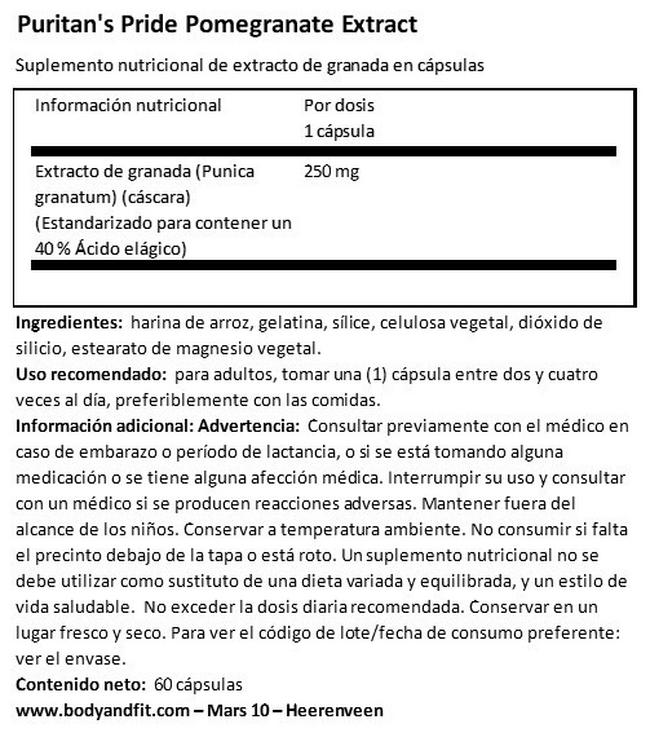 Pomegranate Extract 250 mg Nutritional Information 1