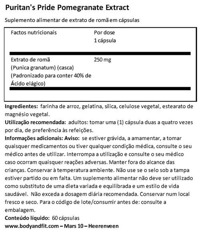 Extrato de romã 250 mg Nutritional Information 1