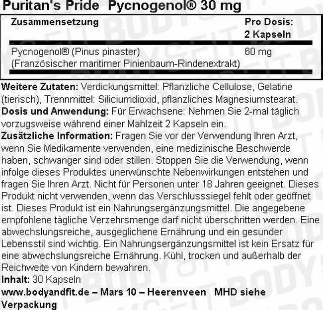Pycnogenol® 30 mg Nutritional Information 1