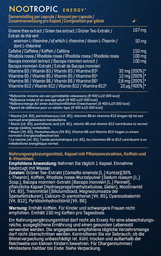 Nootropic - Energy Nutritional Information 1