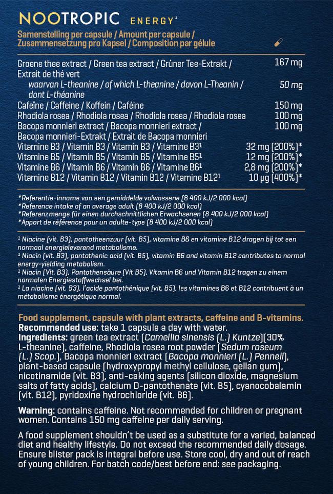 ヌートロピック– エナジー Nutritional Information 1