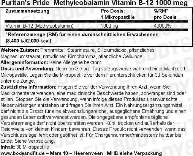 Methylcobalamin Vitamin B-12 1000 mcg Nutritional Information 2