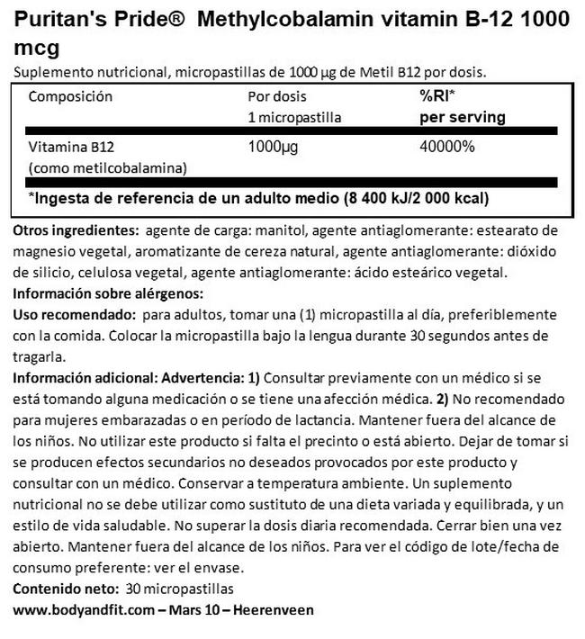 Methylcobalamin vitamin B12 1000 µg Nutritional Information 1