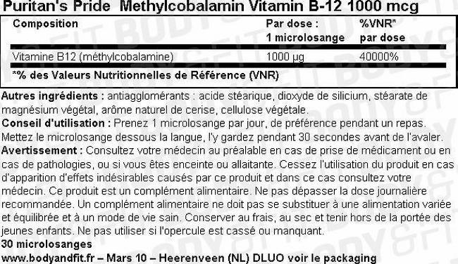 Methylcobalamin vitamin B-12 1000 mcg Nutritional Information 1