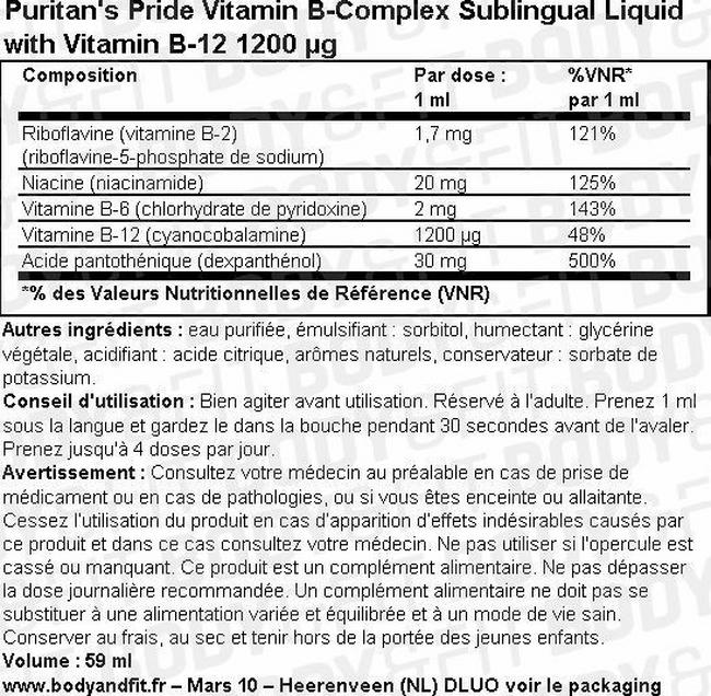 Vitamin B-Complex Sublingual Liquid with Vitamin B-12 Nutritional Information 2