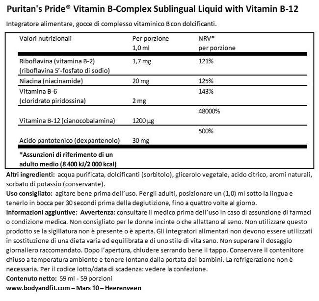 Vitamin B-Complex Sublingual Liquid with Vitamin B12 Nutritional Information 1