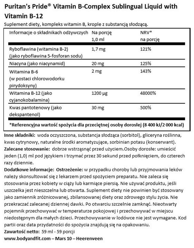 Vitamin B-Complex Sublingual Liquid with Vitamin B12 Nutritional Information 1