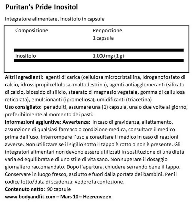 Inositolo 1000 MG Nutritional Information 1