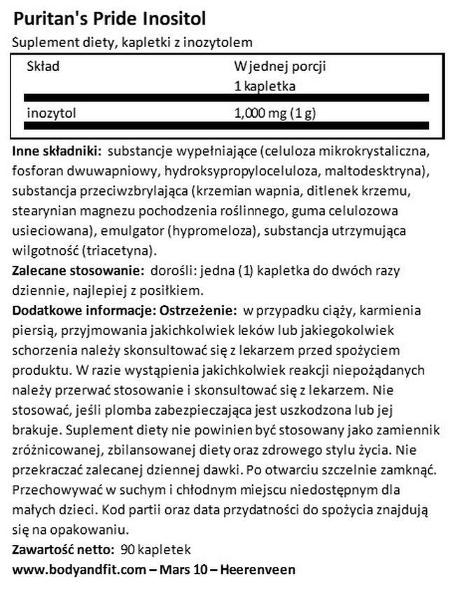 Inozytol 1000 mg Nutritional Information 1