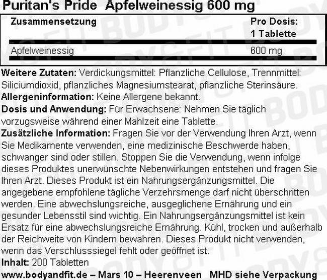 Apple cider Vinegar 600 mg Nutritional Information 1