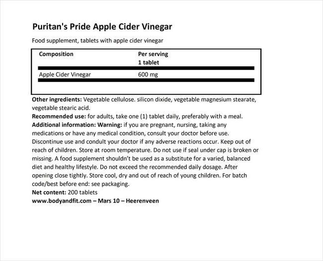 アップルサイダービネガー 600mg Nutritional Information 1