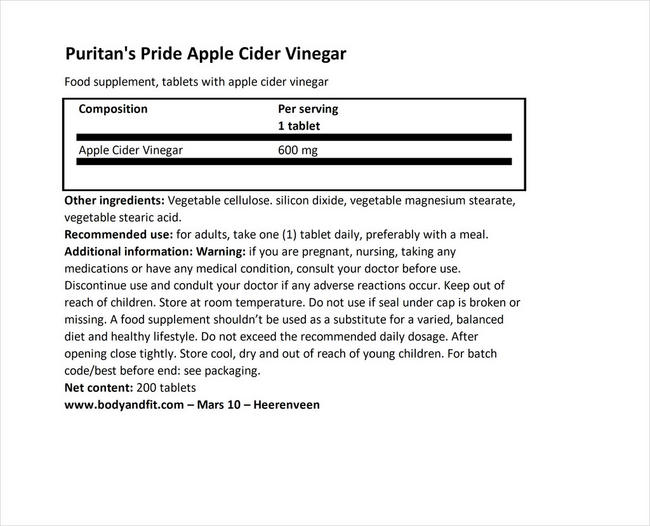 Apple Cider Vinegar 600mg Nutritional Information 1