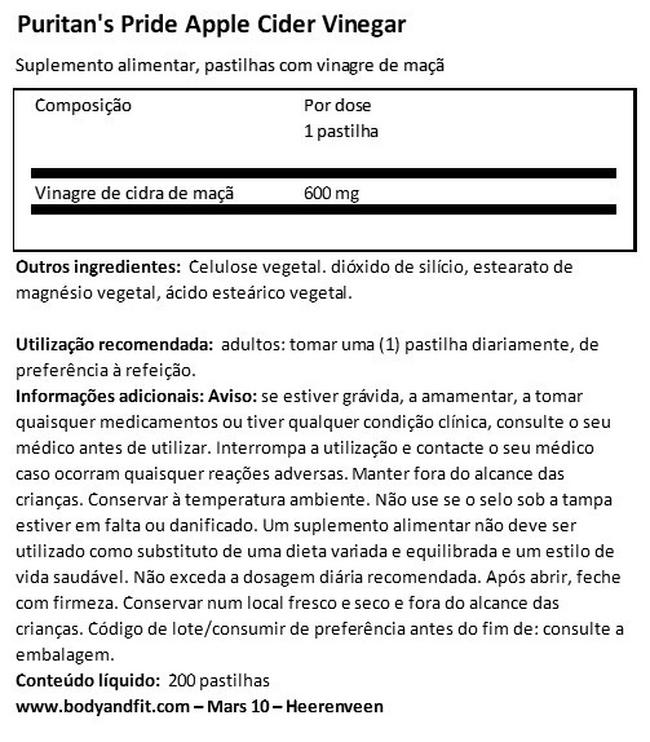 Apple Cider Vinegar 600mg Nutritional Information 1