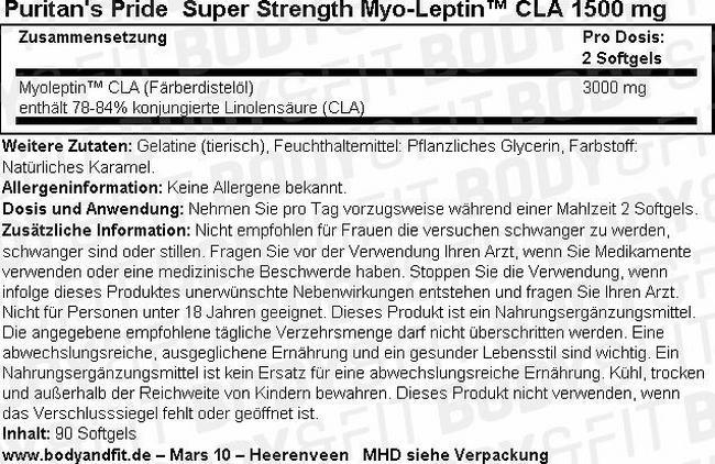 Super Strength Myo-Leptin™ CLA 1500 mg Nutritional Information 1