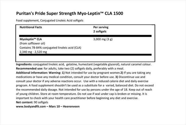 スーパーストレングス ミオレプチンCLA 1500mg Nutritional Information 1
