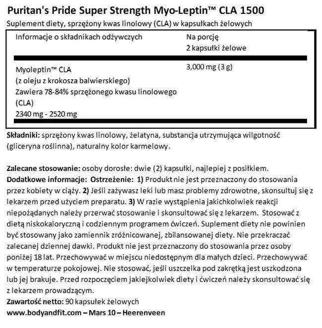 Super Strength Myo-Leptin CLA 1500 mg Nutritional Information 1