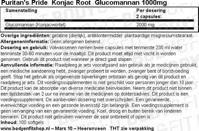 Konjac Root Glucomannan 1000 mg Nutritional Information 1