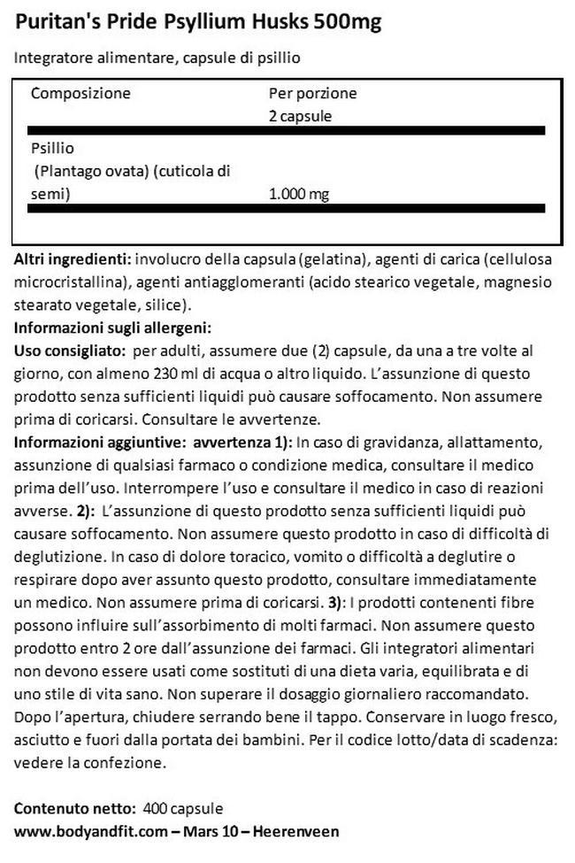 Buccia di Psillio 500 MG Nutritional Information 1