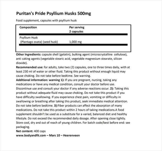シリウムハスク 500mg Nutritional Information 1