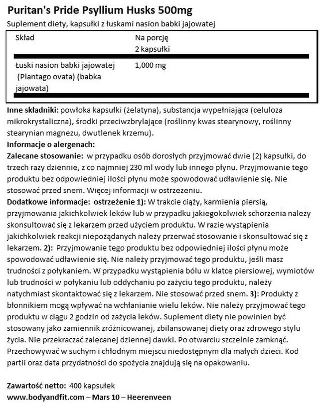 Babka płesznik Psyllium Husks 500 mg Nutritional Information 1