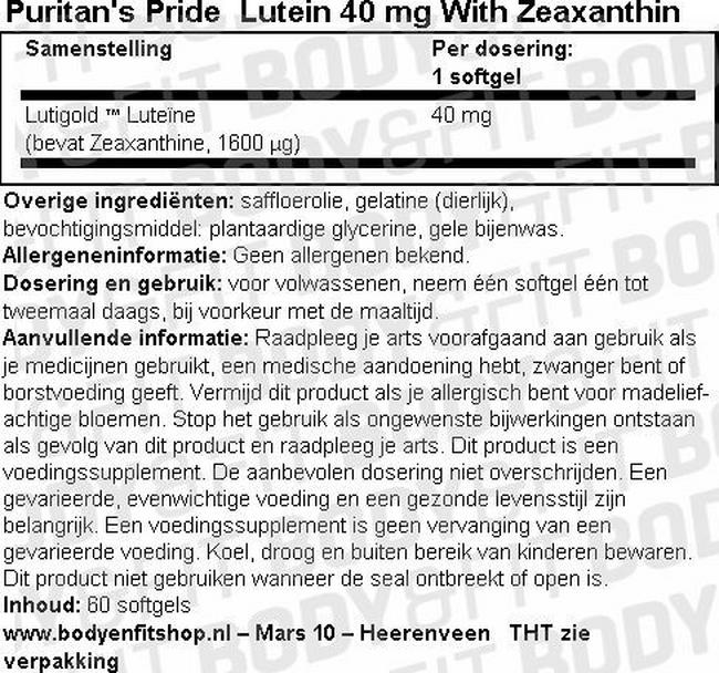 Lutein 40 mg with Zeaxanthin Nutritional Information 1